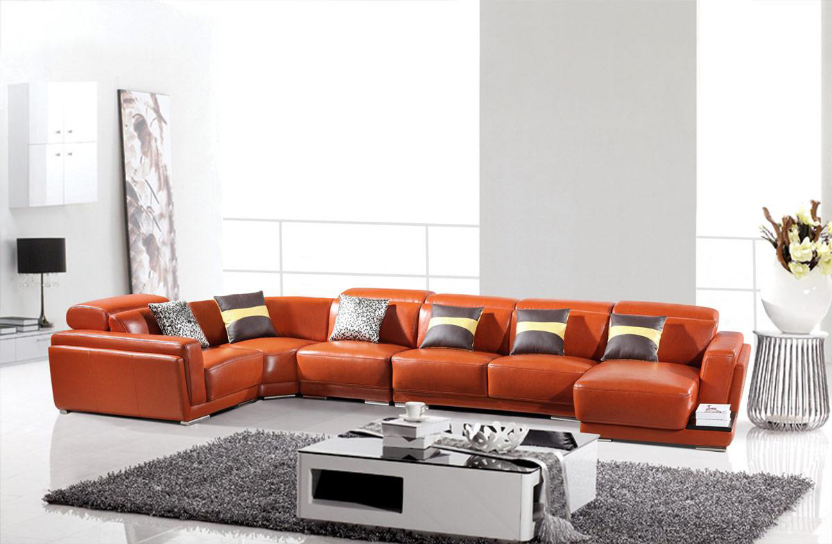 Modern Brown Leather Sectional Sofa HE-996 | Leather Sectionals