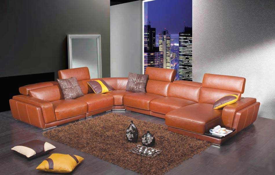 Modern Brown Leather Sectional Sofa He 996 Leather Sectionals