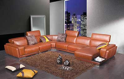 Modern Brown Leather Sectional Sofa HE-996