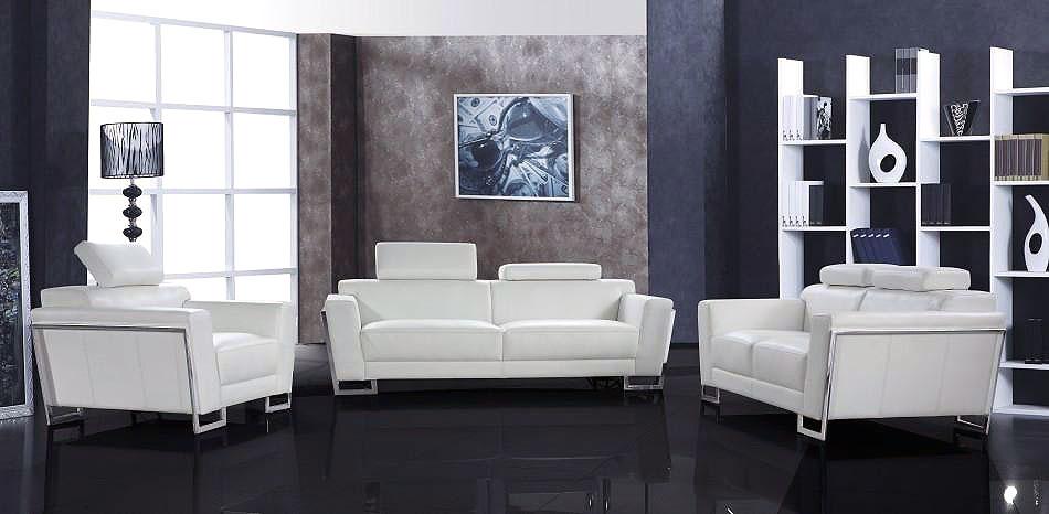 Bellinda Modern White Leather Sofa Set