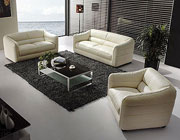 Beige leather sofa set VG71