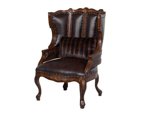 BT 066 Brown Leather Accent Arm Chair - BT 066 Brown Leather Accent Arm Chair Accent Seating