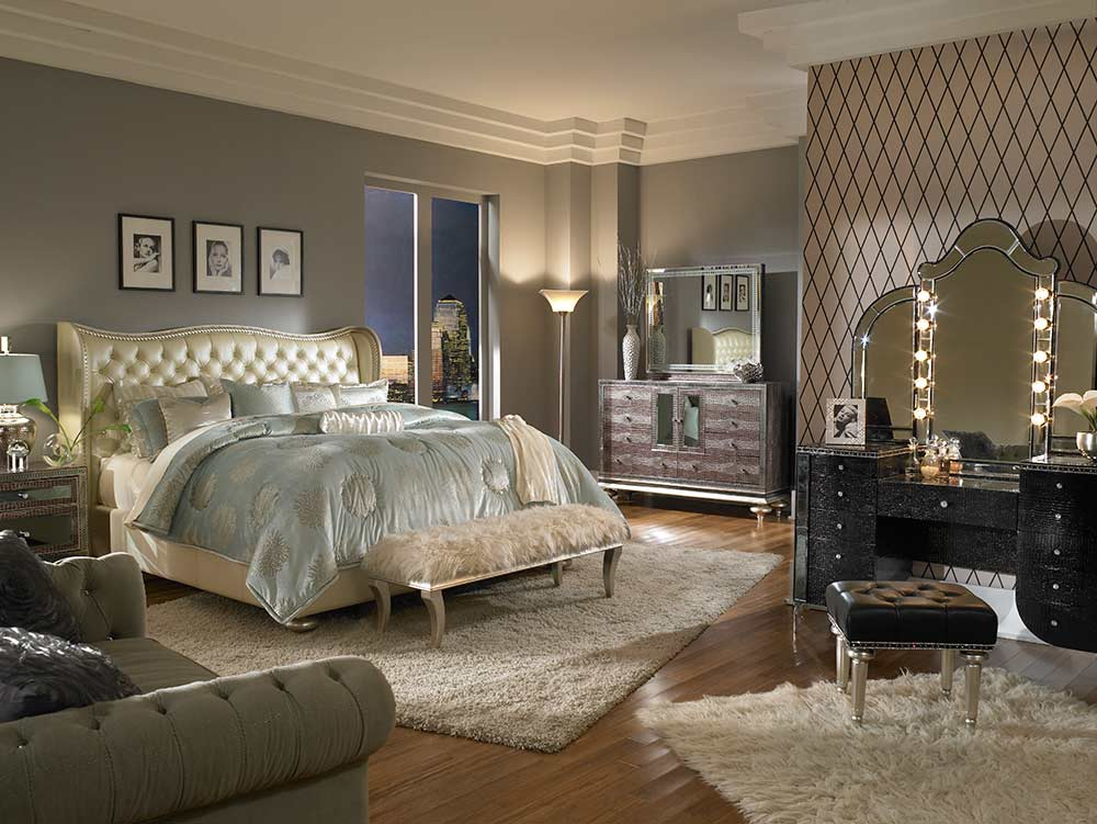 hollywood swank cream pearl platform bed by aico aico bedroom furniture. Black Bedroom Furniture Sets. Home Design Ideas