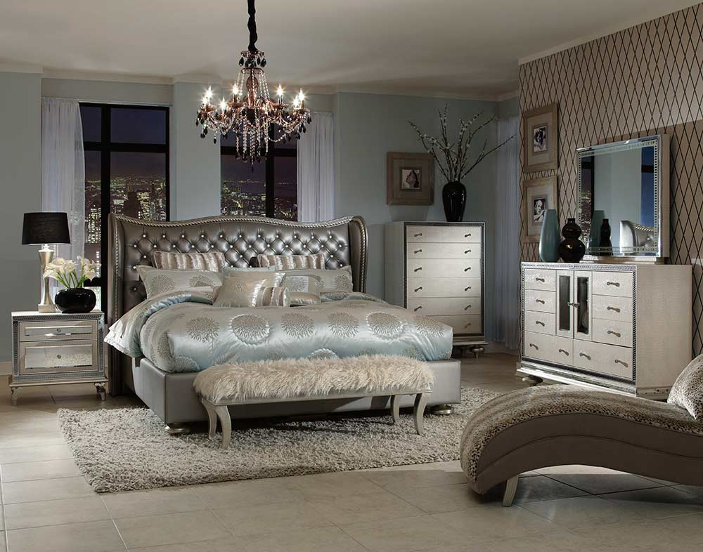 Hollywood Swank Cream Pearl Platform Bed by AICO