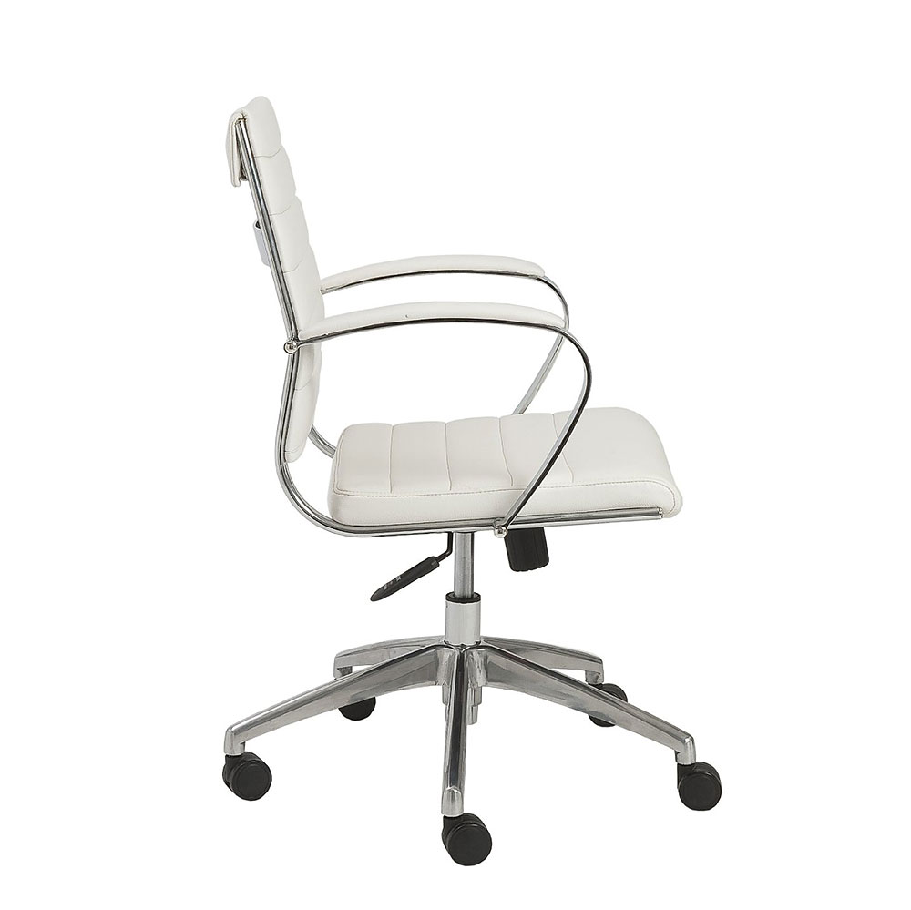 White office chair back -  Axel Low Back White Office Chair With Armrests