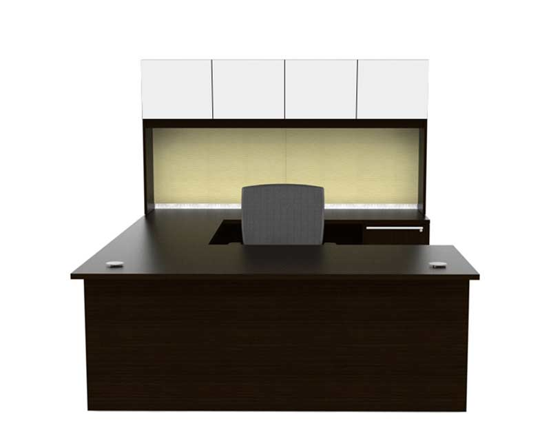 U Shaped Office Desk With Glass Doors Hutch CH V 675