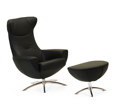 Fjords Baloo Swing Black Chair with Ottoman by