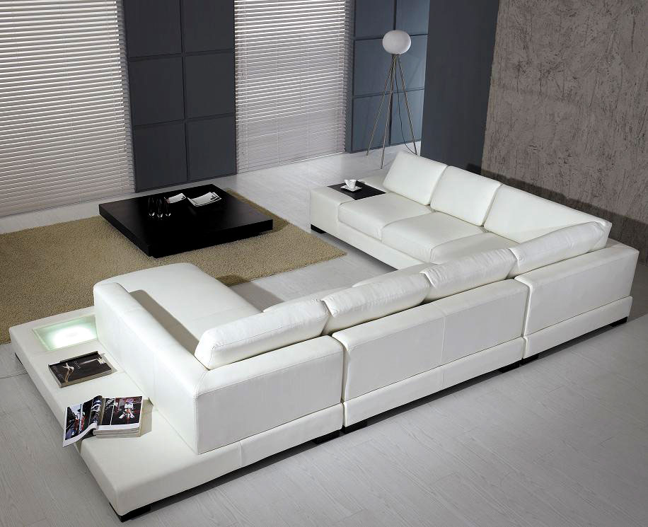 T35 white leather sectional sofa leather sectionals for Contemporary leather furniture
