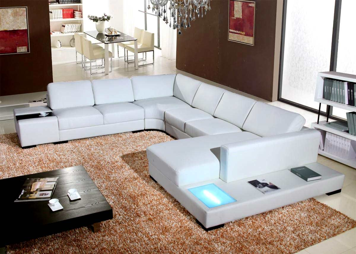 ... T35 White Leather Sectional Sofa ... : white leather sectional sofa with chaise - Sectionals, Sofas & Couches