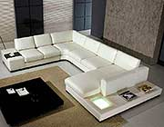 T35 White Leather Sectional Sofa