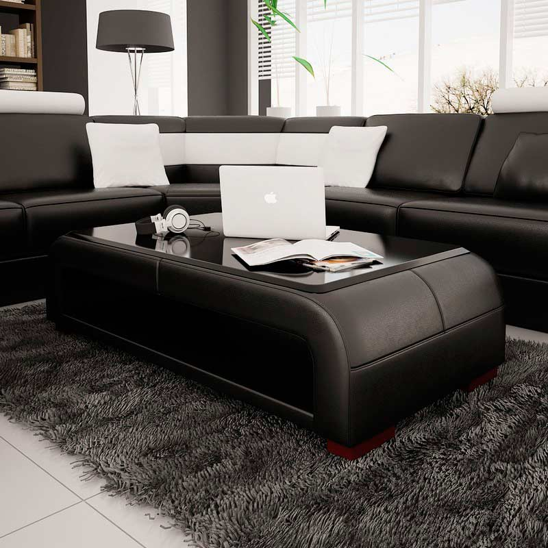 modern black bonded leather coffee table with glass top | contemporary