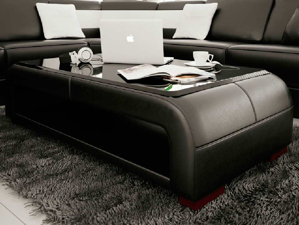 Modern Black Bonded Leather Coffee Table With Gl Top