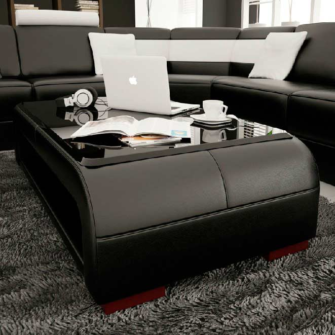 Modern Black Bonded Leather Coffee Table With Glass Top