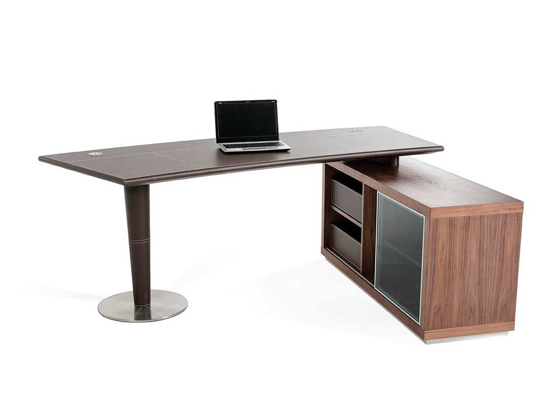 Modern Office Desk and Side Storage Cabinet | Desks
