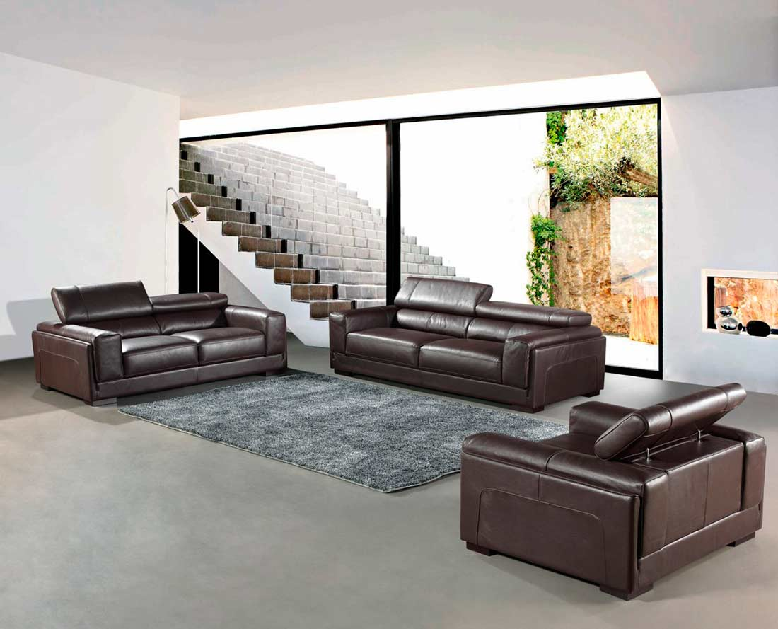 Modern top grain brown leather sofa set vg818 leather sofas for Leather sofa set