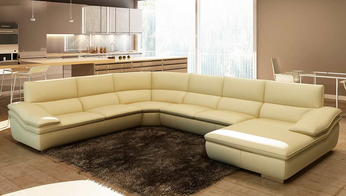 Italian Leather Beige Sectional Sofa Vg782c Leather