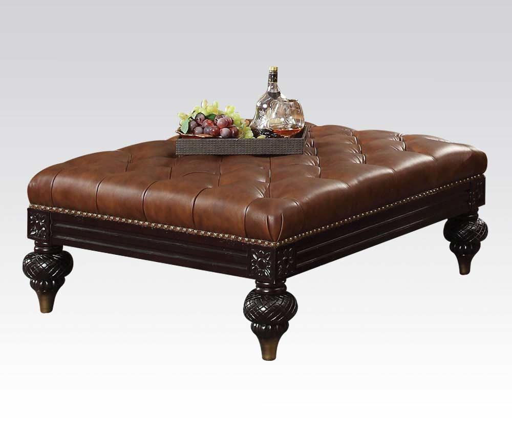 Bonded leather sofa ac semadara traditional sofas for Traditional tufted leather sofa