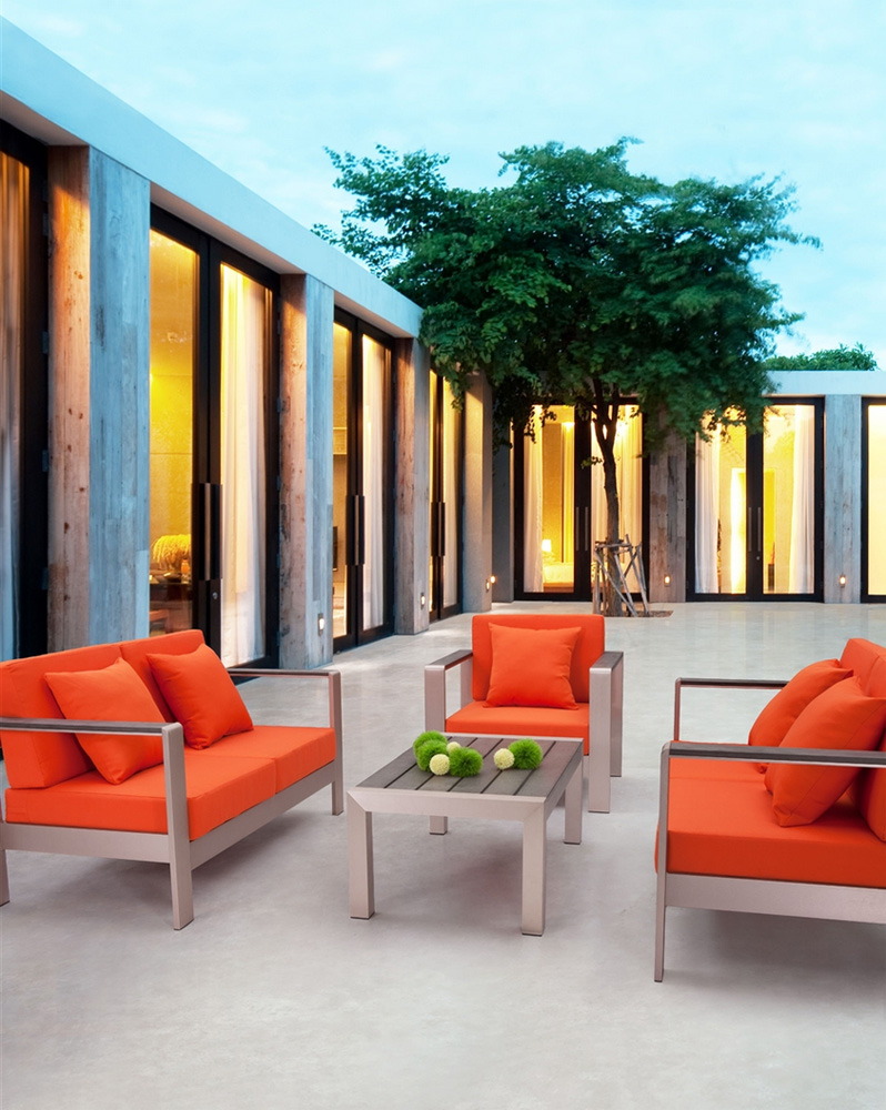 Modern Orange Outdoor Set ZU51 Outdoor Furniture Sets