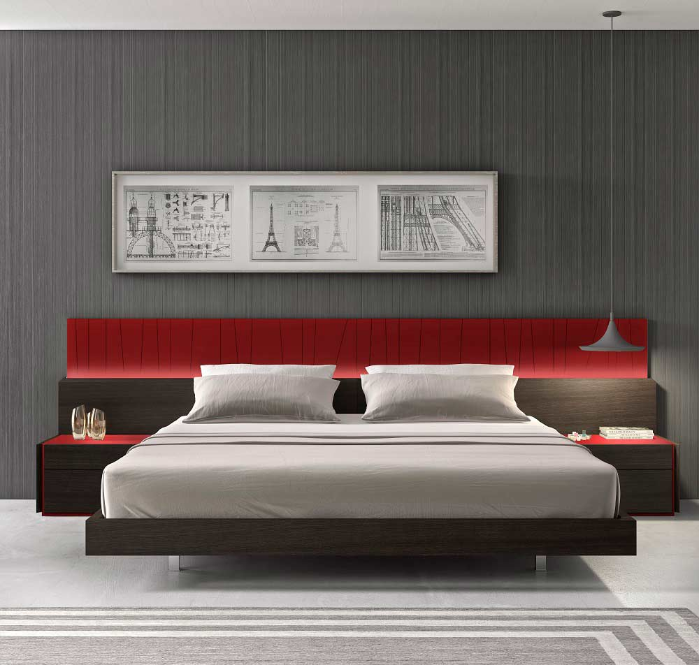 Red Lacquer With Wenge Bed Sj Lecia Contemporary Bedroom