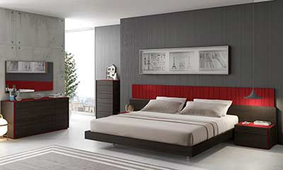 Red Lacquer With Wenge Bed SJ Lecia