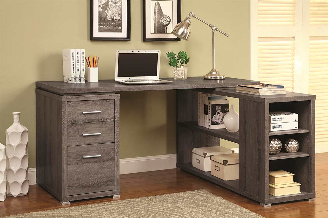 Weathered Grey L Shape Desk With Silver Hardware CO 518