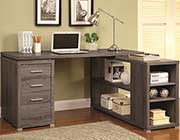 Weathered Grey L-Shape Desk with Silver Hardware CO 518
