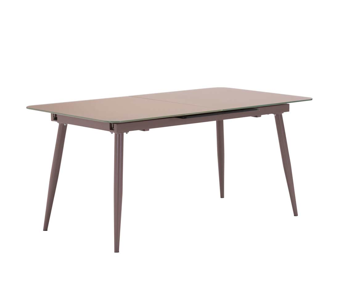 Extension mocha glass table z132 modern dining for Dining room tables with extensions