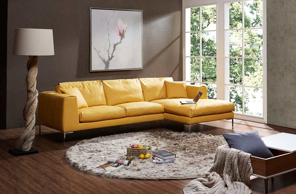 Awe Inspiring Yellow Premium Leather Sectional Sofa Leather Sectionals Ocoug Best Dining Table And Chair Ideas Images Ocougorg