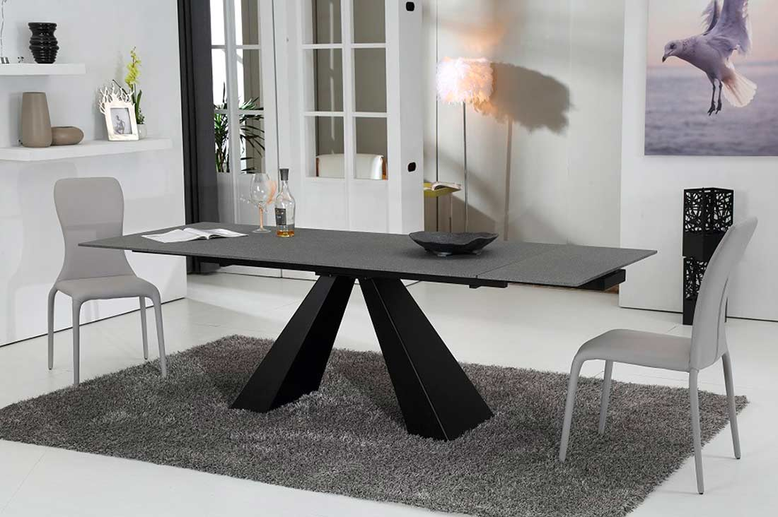 Modern Concrete Glass Extendable Dining Table VG911 Modern Dining