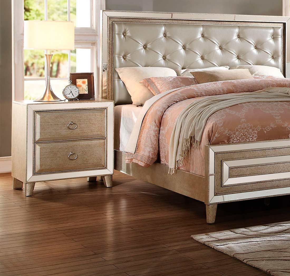 matte gold leatherette bed ac valentine  traditional bedroom
