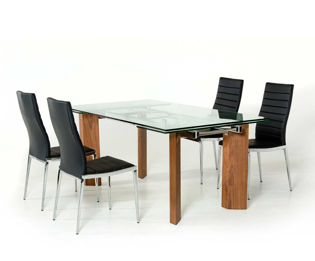 Extendable Glass Top Dining Table VG Modern Dining - Glass top extendable dining room table