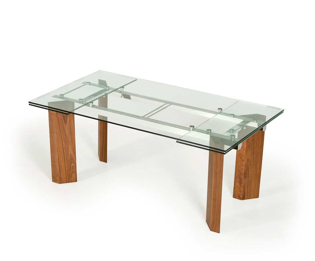 Extendable glass top dining table vg 048 modern dining for Glass dining table