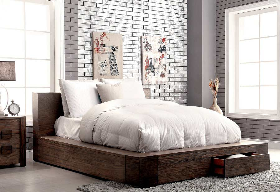 Storage Bed in Rustic Finish FA29 | Contemporary Bedroom