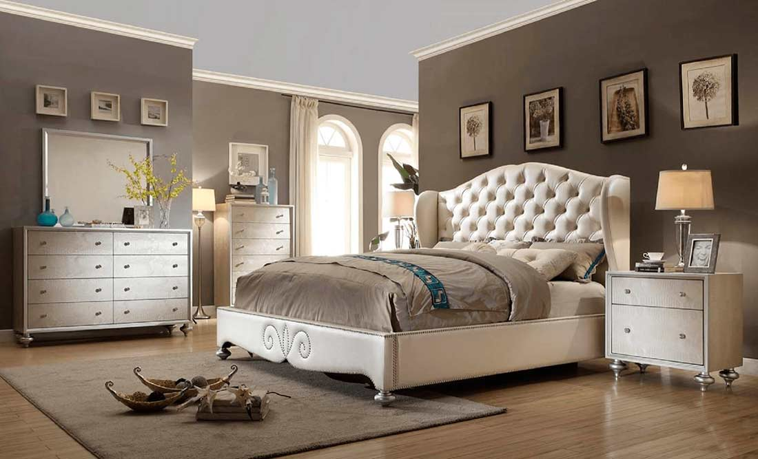 Diamond Tufted Pearl Bed Mf708 Classic Bedroom