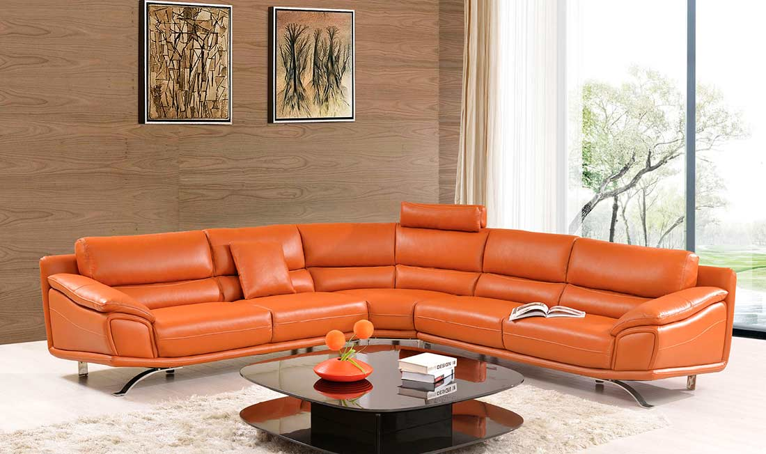 modern orange leather sectional sofa ef533 leather sectionals. Black Bedroom Furniture Sets. Home Design Ideas