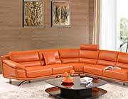 Modern Orange Leather Sectional Sofa EF533