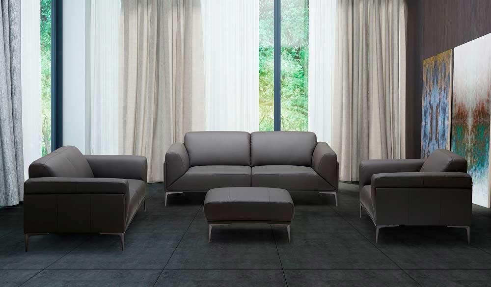 Grey Leather Sofa NJ Davina