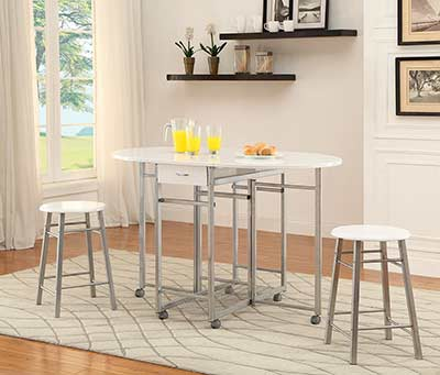 White and Metal Counter Table set CO080