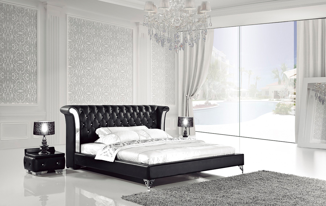 White Leather Bed With Nightstands AE293