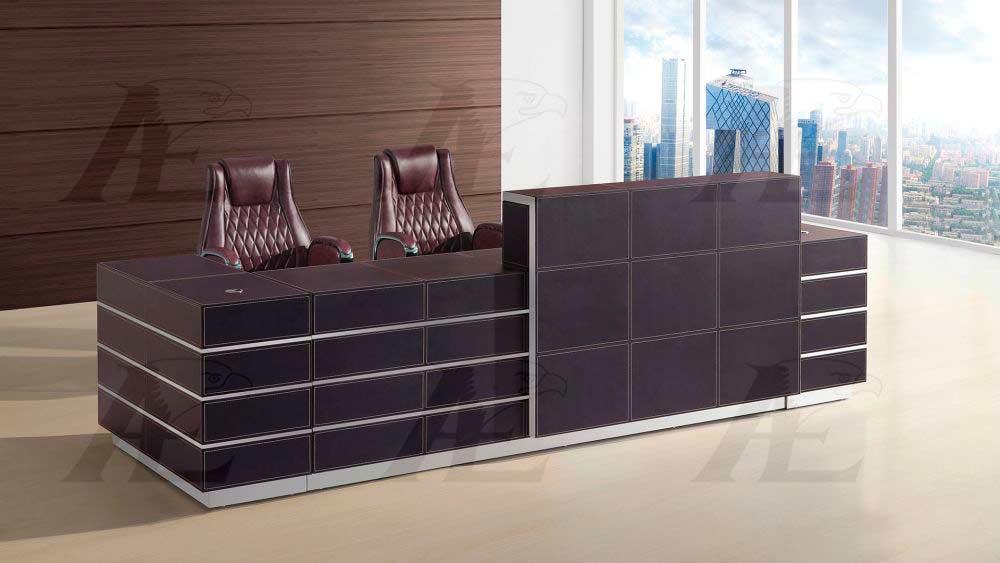 Brown Faux Leather Reception Desk Ae 01 Desks