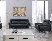 Black Genuine Leather Sofa set AE 150