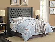 Transitional Gray Woven Fabric Headboard CO705