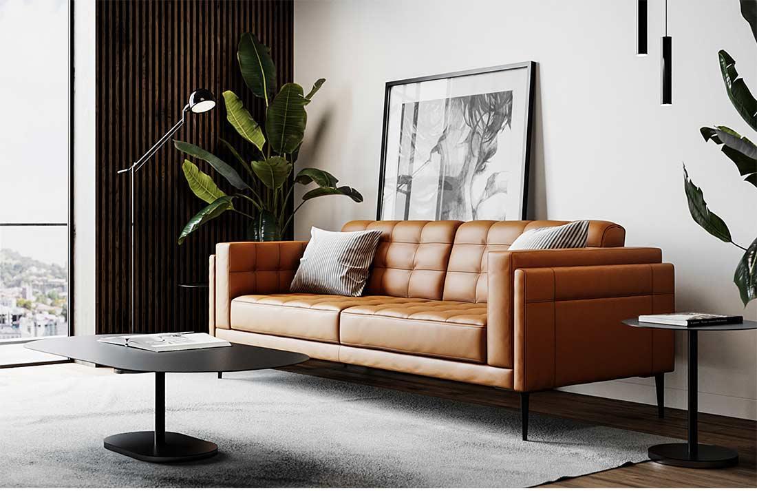 Murray 440 Tan Leather Sofa By Moroni