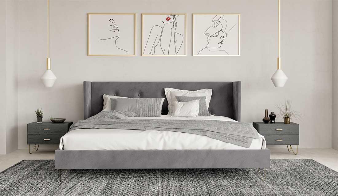 Grey Velvet Bed Vg Ryan Contemporary Bedroom