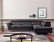 Black Leather Sectional sofa AE 8010