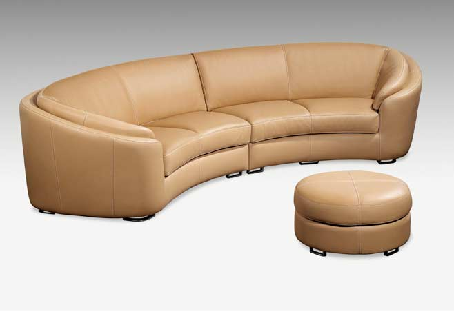 Round Modern Italian Leather Sofa M56 Sectionals