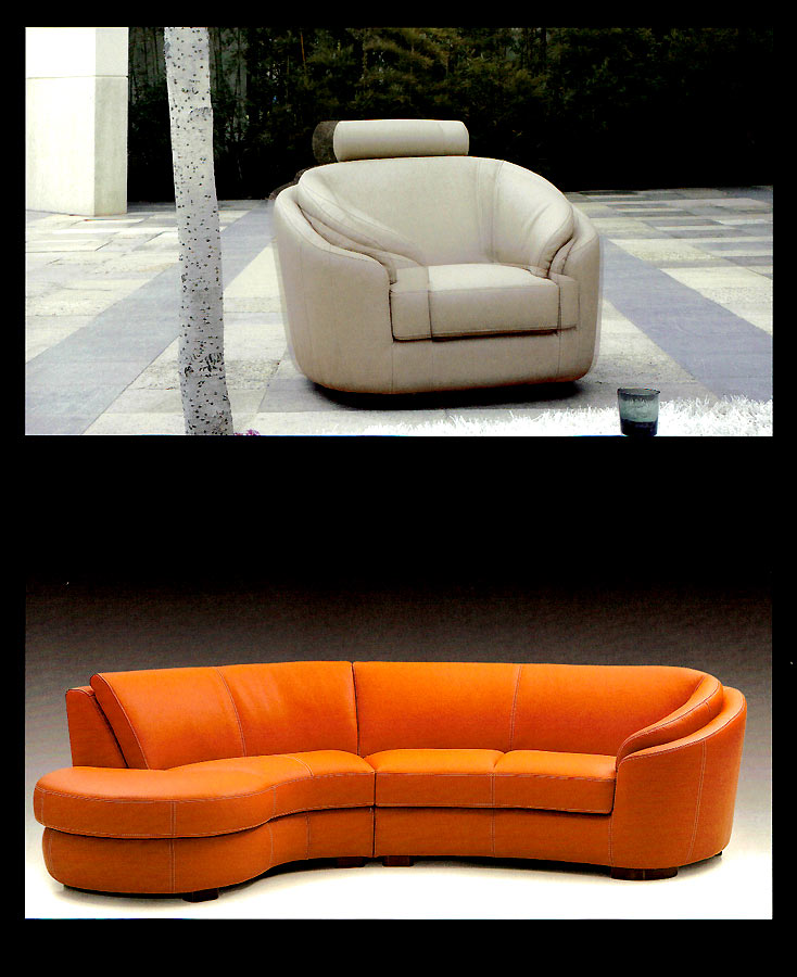 Round Modern Italian Leather Sofa M56 Leather Sectionals