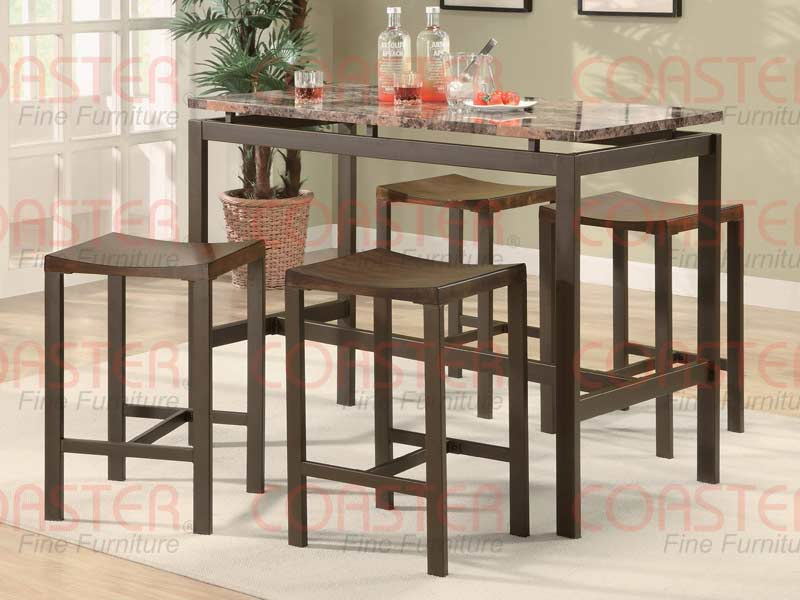 Atlas Counter Height Dining Set Marble Look Top Bar