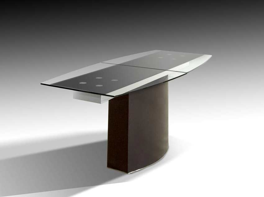 ... VG 688 Extendable Boat Shaped Glass Top Table ...