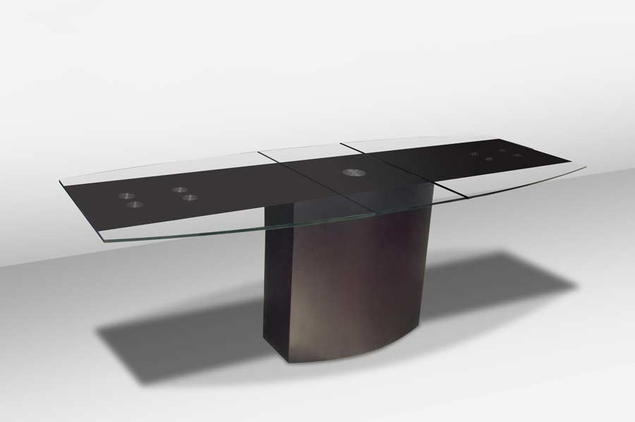 Room gtgt Modern Dining VG 688 Extendable Boat Shaped Glass Top Table